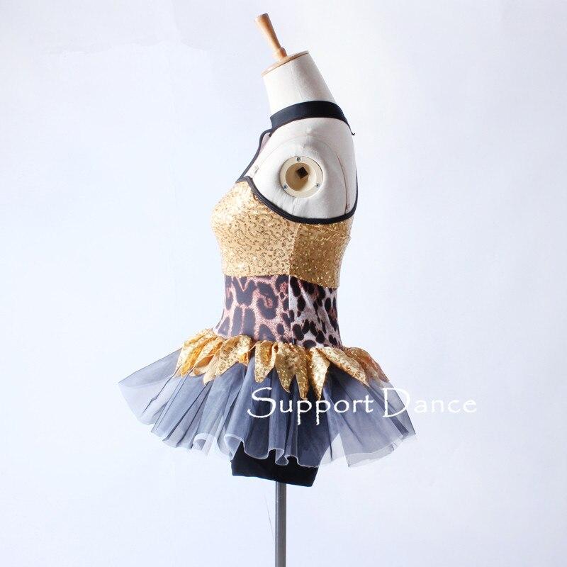 Image 3 - Асимметричное леопардовое платье для латинских танцев, для детей и взрослых, стильный джазовый современный танцевальный костюм C305-in Латинский from Новый и особенный в использовании