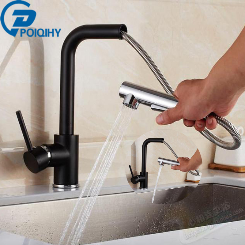 Black+Chrome Kitchen Faucet Pull Out Sink Faucets Mixer Cold and Hot Kitchen Tap Single Hole Water Tap torneira modern kitchen sink faucet mixer chrome finish kitchen double sprayer pull out water tap torneira cozinha rotate hot cold tap