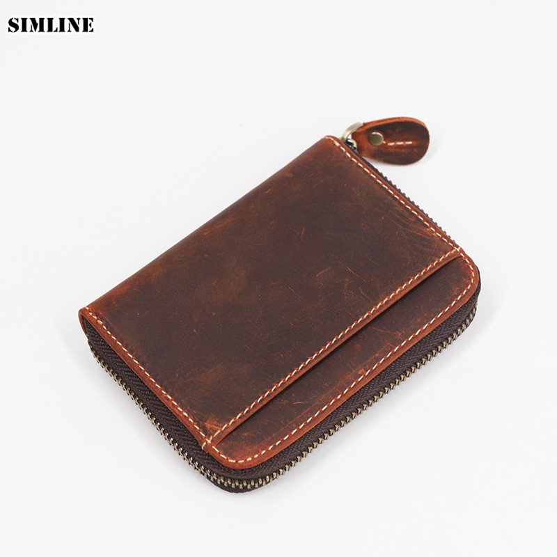 SIMLINE Genuine Leather Men Wallet Men's Vintage Crazy Horse Leather Small Zipper Wallets Coin Purse Pocket Card Holder Carteira joyir wallet women men leather genuine vintage coin purse zipper men wallets small perse solid rfid card holder carteira hombre