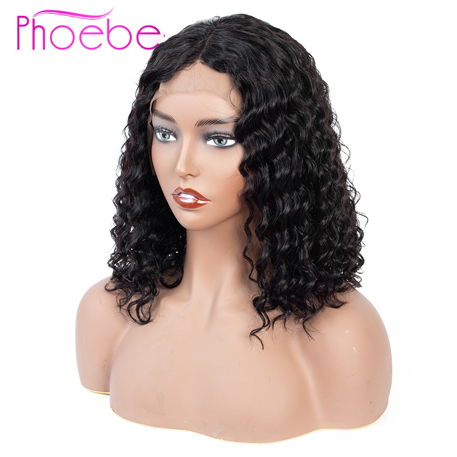 Phoebe 13x4 Deep Wave Bob Lace Front Human Hair Wigs For Black Women Pre Pluck With