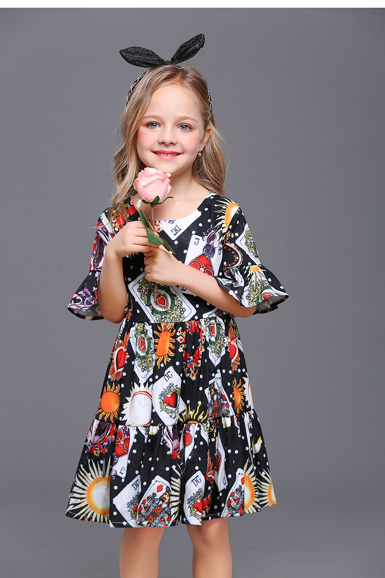 Summer kids children party family matching clothes mother and daughter playing card trumpet sleeves chiffon dress girls clothing 2017 summer children clothing mother and daughter clothes xl xxl lady women infant kids mom girls family matching casual pajamas