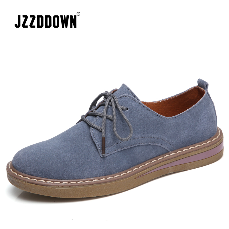 Zapatos oxford de mujer de cuero de gamuza de vaca zapatos de primavera para damas mocasines zapatos casuales 2018 mocasín zapatos de barco de Otoño de talla grande