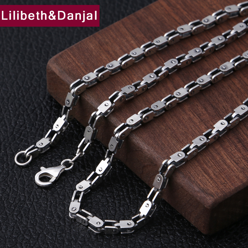 4mm Thick Necklace 100 925 Sterling Silver Men Women Openwork bamboo chain Square Best Friend Necklace