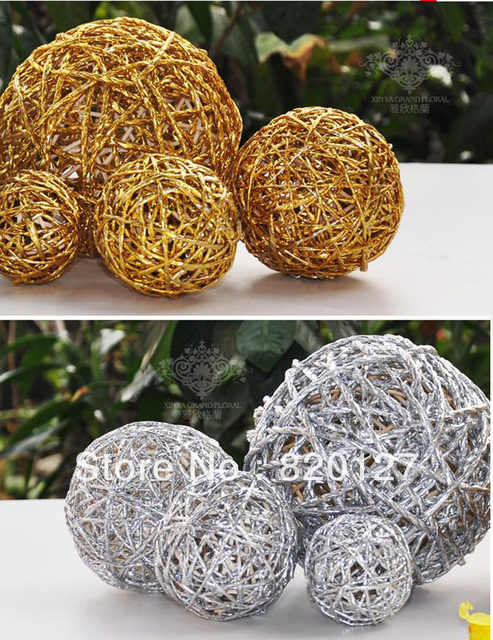 40pcs Handmade Rattan Wicker Balls Vase Filler Table Scatter Wedding New Rattan Decorative Balls