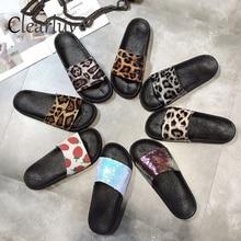 Летние женские шлёпанцы Модные леопардовые сандалии на мягкой подошве домашние пляжные шлёпанцы для ванной женские дикие гладиаторы парные шлёпанцы