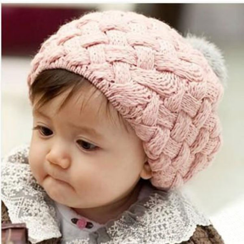 Lovely 4 Colors Baby Girl Crochet Beanie Knitted Cap with Fur Top Fitted Kids Accessories Knitting Winter Baby Warm Beret Hat natural fur beanie hat for women winter luxury fox fur top hat beanies thicken knitting lined female newest hats cap