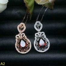 KJJEAXCMY boutique jewels 925 Sterling Silver Garnet female Pendant + necklace jewellery