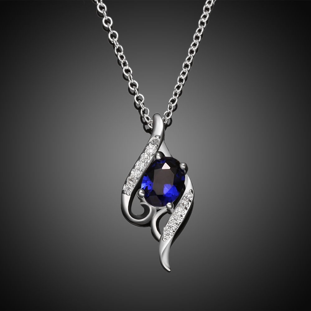 Lunaori Silver Necklace For Women Vintage Elegant CZ Diamond Pendants and Necklaces Silver Plated Fashion Jewelry blue white red