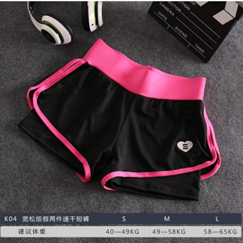 Women Sport Shorts Korean Tight Running Fake Two Sports Shorts Anti-light Fitness 2 In 1 Yoga Short Pants