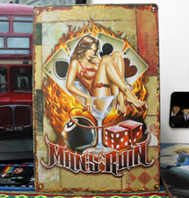 """RZXD-889 """"Poker girl""""Tin plate signs movie poster Art Cafe Bar Vintage Metal Painting wall stickers home decor 20X30 CM"""