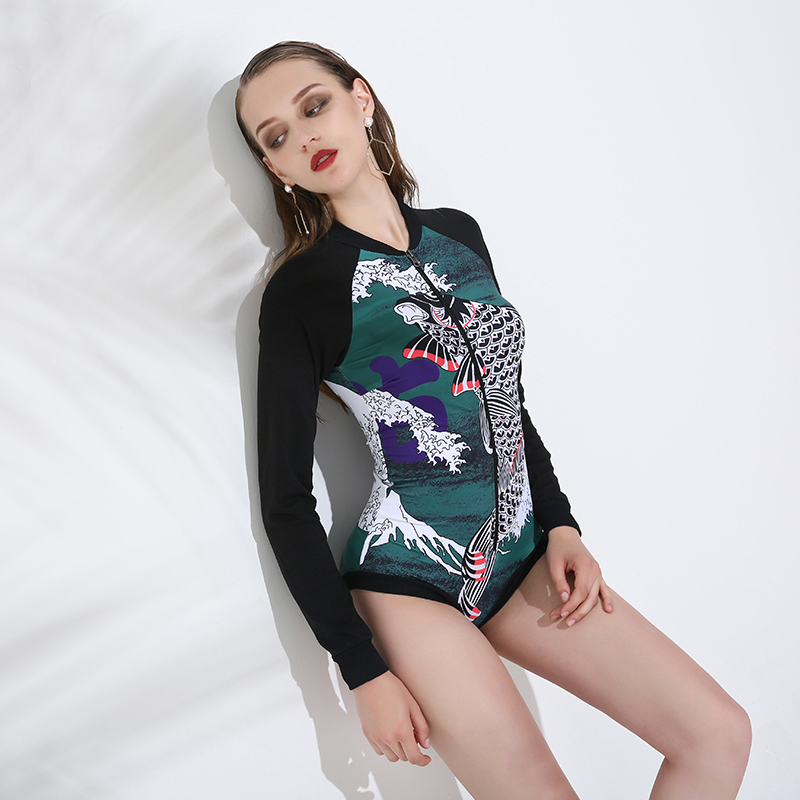 Fish Print Tankini Swimsuit Long Sleeve One Piece Front