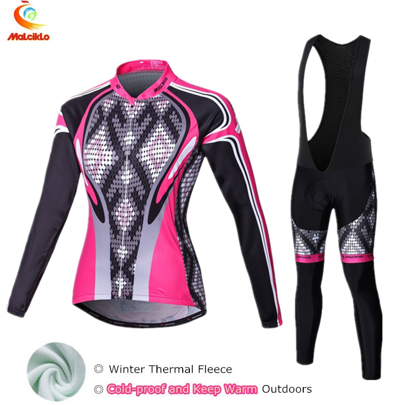 2017 Thermal Fleece Winter Cycling Jersey Women Long Suit Maillot Cycling Set Bike Clothing Ropa Ciclismo Silicon Gel Pad mavic winter thermal fleece bicycle clothing bib set men s long sleeves cycling jersey warm outdoor sport coat suit 9d gel pad