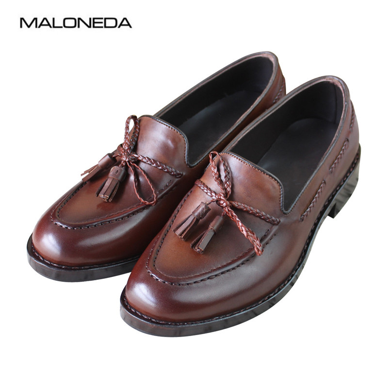 MALONEDA Bespoke Handmade Mens Tassel Casual Shoes Genuine Leather Comfortable Slip On Loafers With Goodyear WeltedMALONEDA Bespoke Handmade Mens Tassel Casual Shoes Genuine Leather Comfortable Slip On Loafers With Goodyear Welted