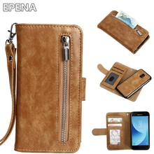 EPENA Luxury Leather Magnetic Flip Cover For Samsung Galaxy J5 J3 J7 2017 J730 J530 Case Zipper Wallet Removable Phone Case(China)