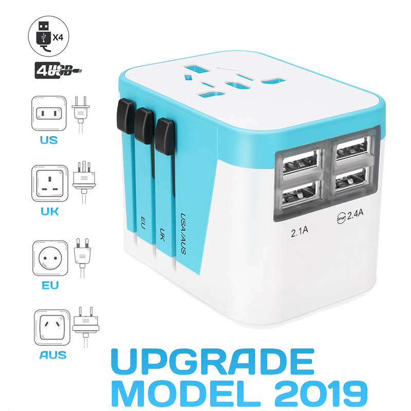 Travel Adapter Plug World Power 3.5A 4 USB Ports All in One for US UK EU AUS