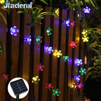 Jiaderui led 태양 크리스마스 문자열 화환 빛 7 m 50led 벚꽃 크리스마스 웨딩 파티 홈 가든 장식 조명
