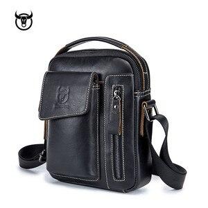 Image 2 - Yeni hakiki deri erkek Crossbody omuzdan askili çanta Vintage inek derisi askılı çanta için erkek küçük gündelik çanta