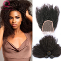 Peruvian Virgin Hair With Closure 4 Pcs/lot Human Hair Weave 3 Bundles With Closure Afro Kinky Curly Virgin Hair With Closure