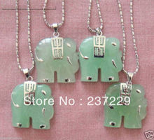 Buy jade elephant necklace and get free shipping on aliexpress 4pcs natural green stone elephant pendant necklace aloadofball Gallery