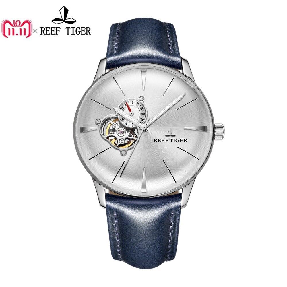 Новый Риф Тигр/RT платье часы для мужчин синий кожаный сталь часы выпуклая линза стекло Tourbillon автоматические часы RGA8239
