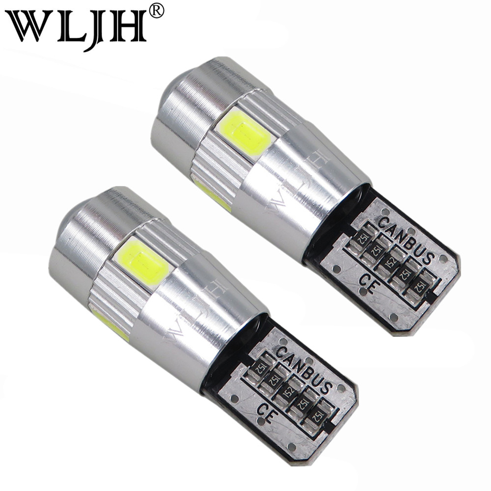 WLJH 2x Canbus Car 5630 SMD T10 LED W5W Projector Lens Auto Lamp Light Bulbs for ford focus 2 3 fiesta mondeo ecosport kuga drl led 2012 2015 kuga day light kuga fog light kuga headlight transit explorer topaz edge taurus fusion kuga taillight