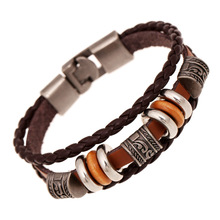Fashion Jewelry Relief Flower Alloy Leather Bracelet Men Casual personality PU Woven Beaded Bracelet Vintage Punk Bracelet 0447