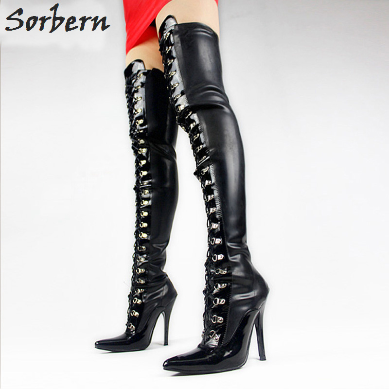 Sorbern 2018 Women Thigh High Black Shiny Lace Up With 4 Inch High Heel Fetish Matt PU Boots Ladies Shoes Fetish High Heels black lace up pu obi belt