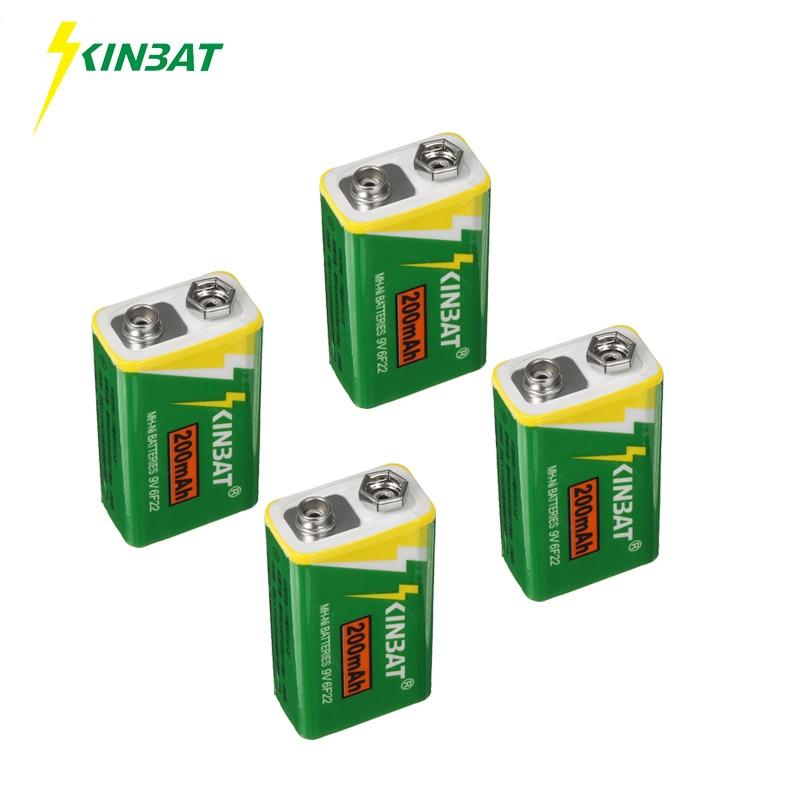 KINBAT 4pcs lot 9V 200mAh 6F22 Ni MH Rechargeable Battery 9 Volt NIMH Batteries For Electronic