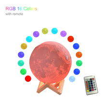 3D printing moon ball night light LED charging 3 color touch 16 remote control home decoration Christmas gifts