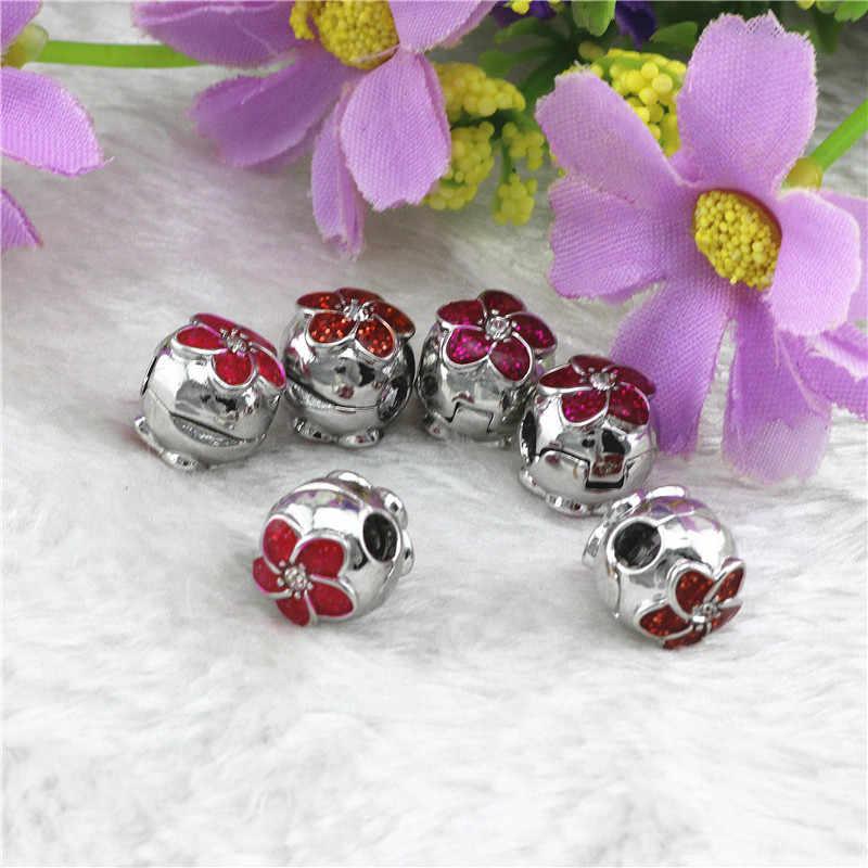 3 kolor korek bezpieczeństwa pave kwiat koraliki nadające się do Pandora bransoletki w stylu do tworzenia biżuterii fit Charms bransoletki dla kobiet