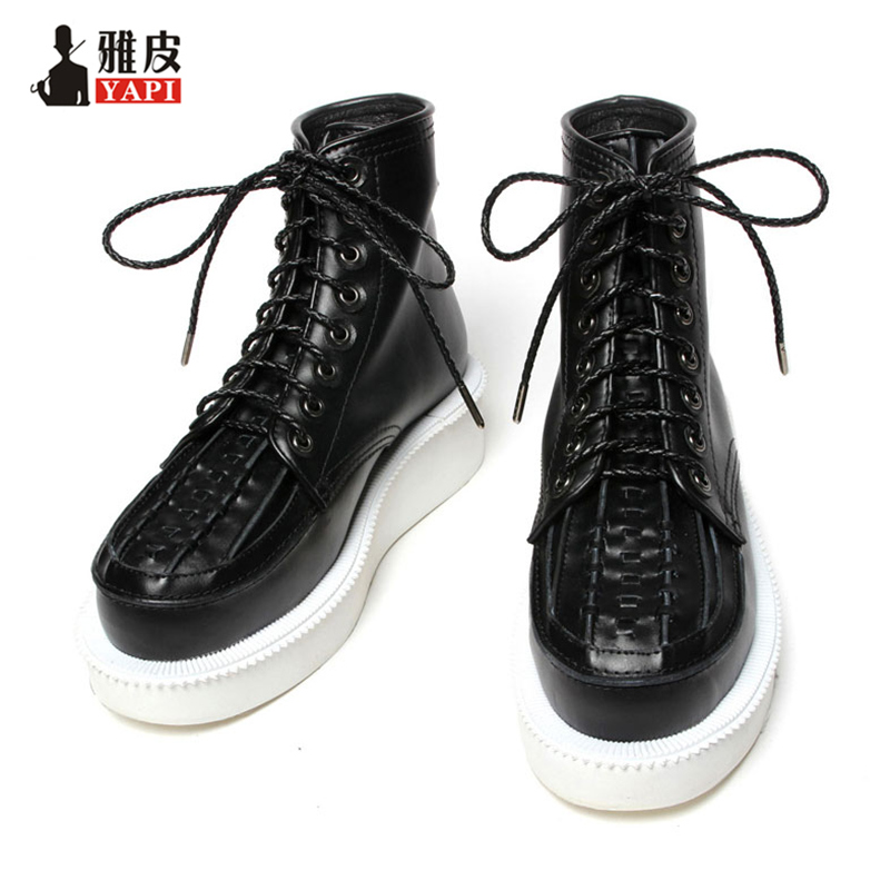Comfy Casual Genuine Leather Mens Lace Up Riding Boots Ankle Boots Winter Snow Boots Woven Heighten ShoesComfy Casual Genuine Leather Mens Lace Up Riding Boots Ankle Boots Winter Snow Boots Woven Heighten Shoes