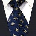 Ouro Marinho Y24 estrela Padrão Clássico de Seda dos homens Amarra a Gravata Da Moda Tamanho Extra Longo Lenço