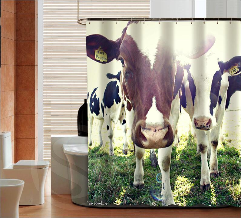 Popular Dairy Cow Fashion Custom Shower Curtain Bathroom Decor Various Sizes Free Shipping MORE SIZE SQ0425 ZHH In Curtains From Home Garden On
