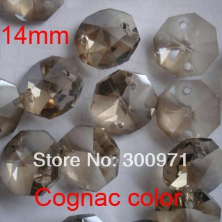 Free shipping 200pcs/lot , cognac color of 14mm crystal octagon beads in 2 holes for home decoration accessories