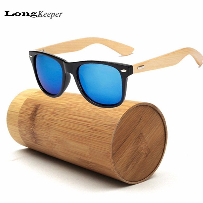 ad84933f5b44 LongKeeper Bamboo Wood Sunglasses for Men Women Oval Square Sun Glasses  Real Wooden Sunglasses With Bamboo Case Box