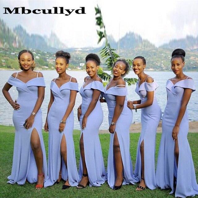 73063b22433 ... vestido largo con hombros descubiertos para fiesta boda. Mbcullyd  African Mermaid Bridesmaid Dresses 2019 Wholesale Price Sexy High Split Off  Shoulder ...