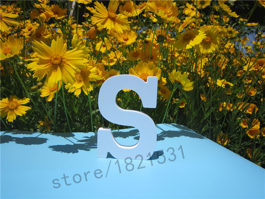 Height 12cm artificial Wood Wooden White Letters Alphabet Wedding Birthday <font><b>Home</b></font> <font><b>Decor</b></font> Decoration Hot sale White Letters Gift