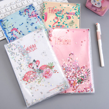 Shining Flamingo Cute Monthly Weekly Planner Agenda Diary Journal Notebook PVC Cover Water Sequins Inside