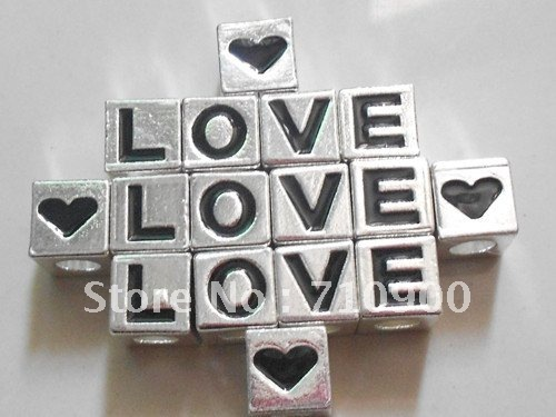 Wholesale New 200pcs/lots Mixed Alloy Silver Tone Black Enamel 'LOVE HEART' Words Letter Cube Square Beads Jewelry Findings 9mm