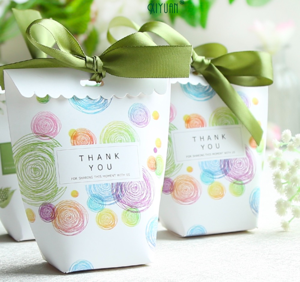 50 X New Wedding Favors colorful circles Candy Boxes Bomboniere ...