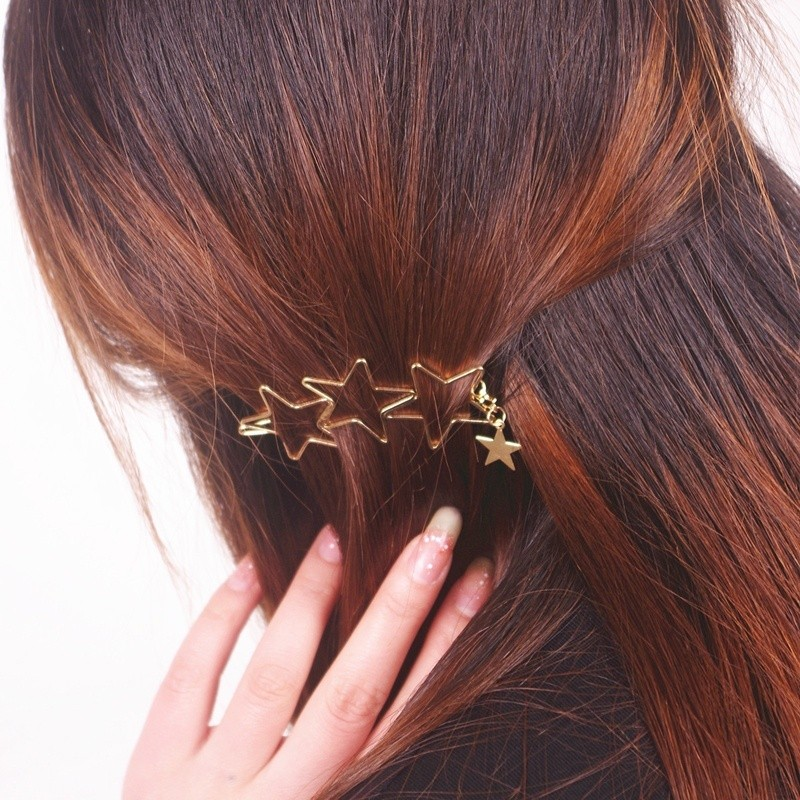 HTB16ry7MXXXXXaqXFXXq6xXFXXXd Classy Gold Plated Five Stars Tassel Hairpin Accessories For Women