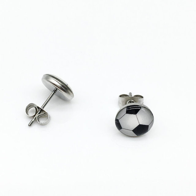 Pendientes Cc Selling Real Earrings For Women Brinco Brincos Free Shipping  18 Pairs Football Printed Stainless 07390212b19a