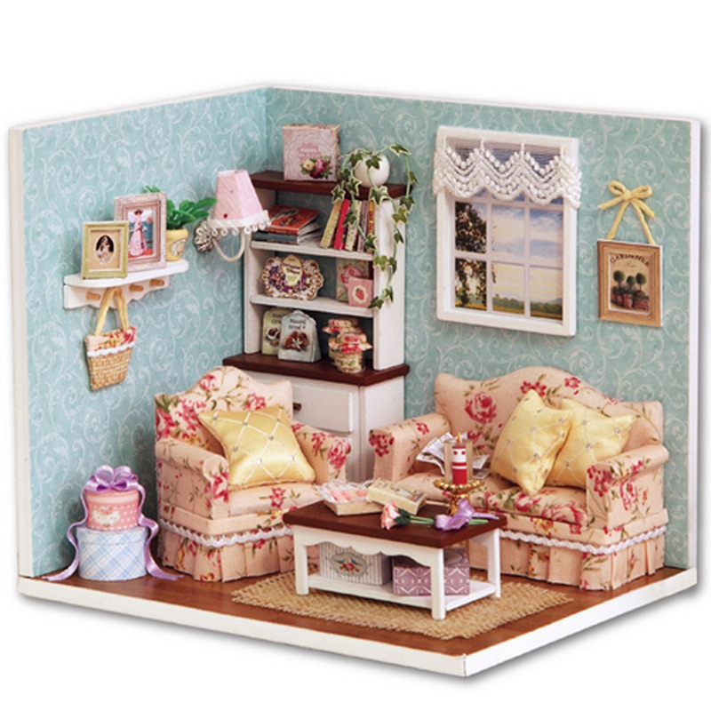 Diy Wooden Dollhouse Miniature Living Room Model Kit Doll House Furniture With Cover Furniture