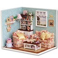 DIY Wooden Dollhouse Miniature Living Room Model Kit Doll House Furniture With Cover Furniture Cute With English Instruction