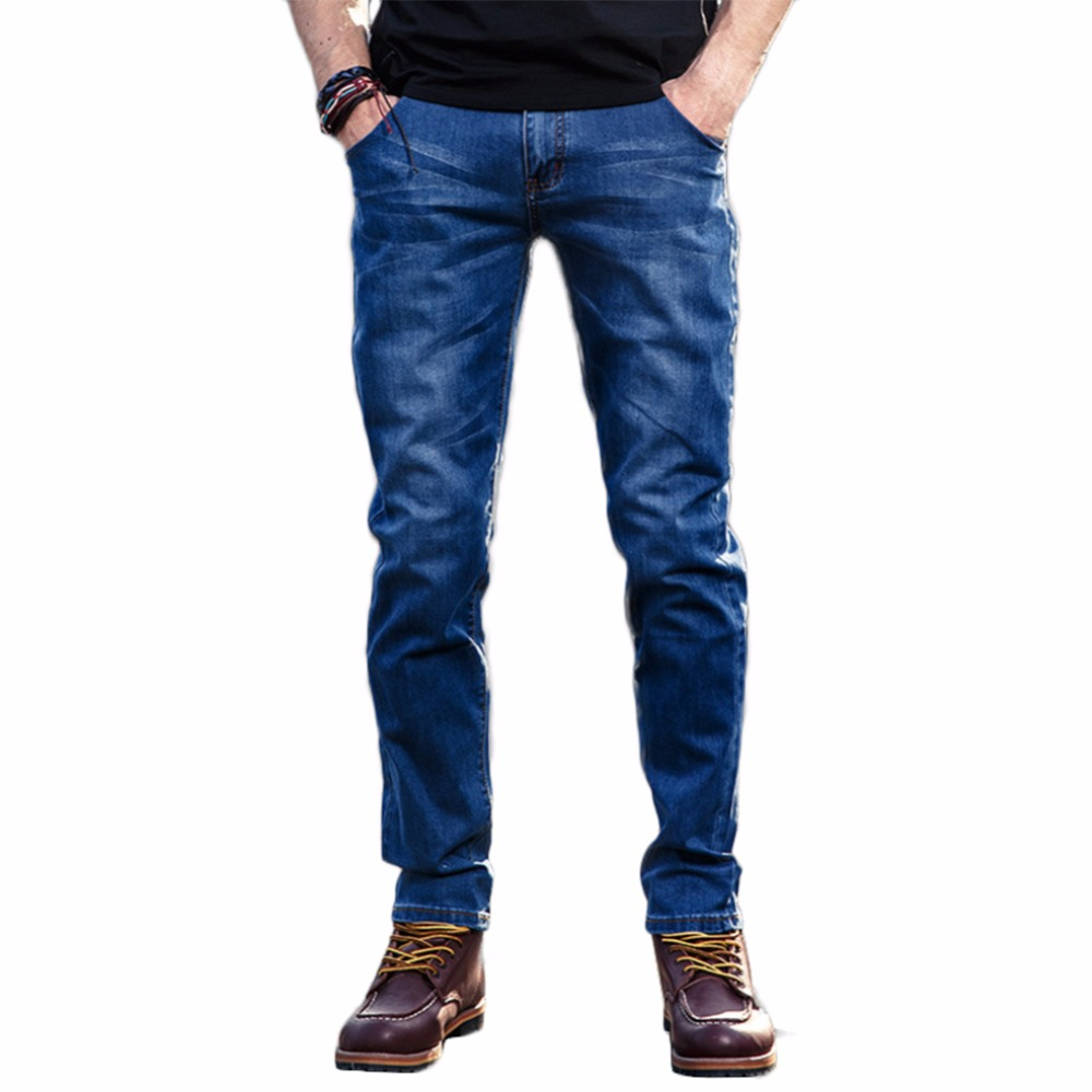 Mens Fashion Slim Jeans Cotton Casual Skinny Jeans Slim Fit Blue Denim Straight Pants