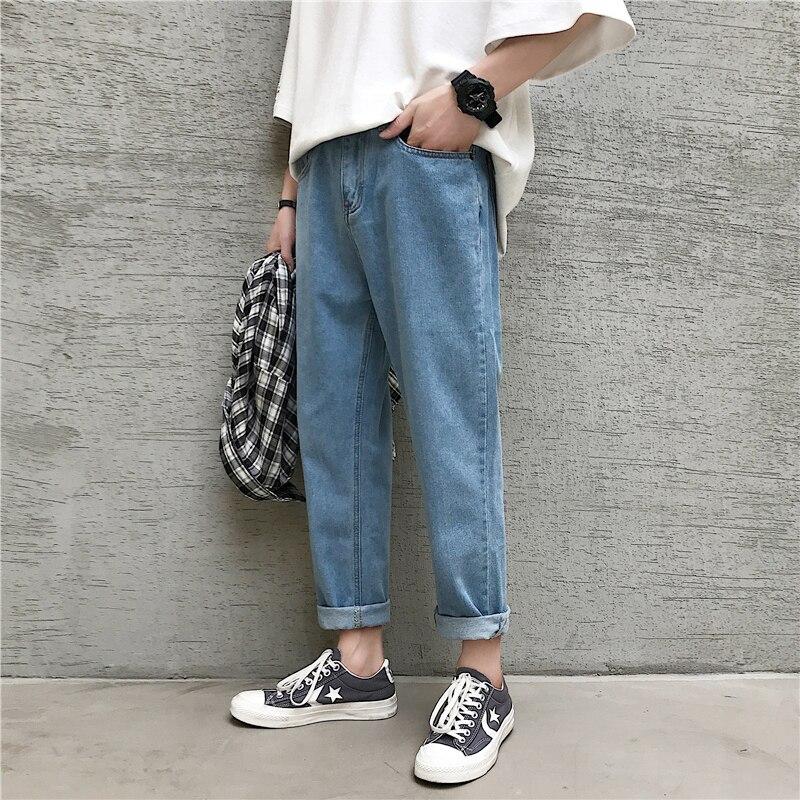 2020 Shop Recommended Men's Fashion Cowboy Casual Pants Slim Fit Classic Wash Jeans Mens Blue Color Male Trousers S-2XL