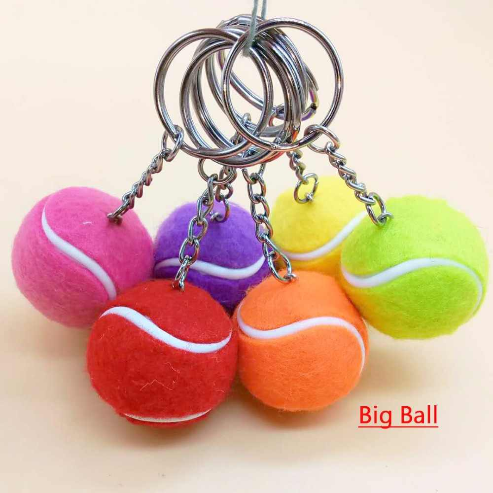 Free Shipping, Sport Style Ball Keychains, Cute Tennis Ball Key Chain, Big and Small Ball Keyrings Choose, jewelry accessories