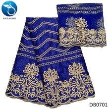 LIULANZHI Royal blue bazin riche fabric african cotton basin brode new arrival 2018 5+2yards headscarf  7yards/lot DB07