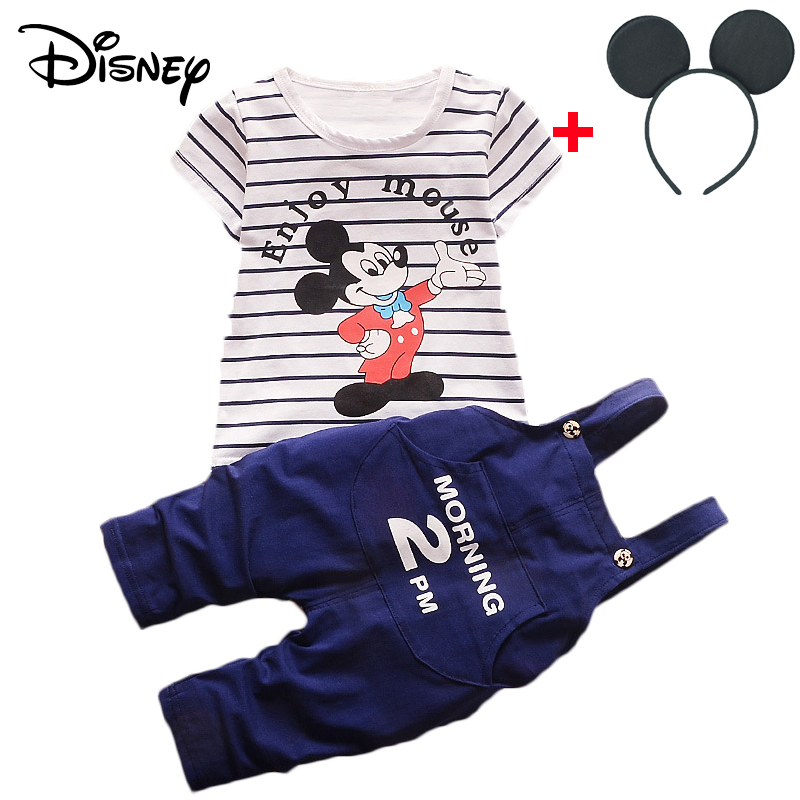 Mother & Kids Disney Mickey Minnie Frozen Baby Boy Short Sleeved Tops Plaid Shorts Infant Clothing Outfits Kids Bebes Jogging Suits Clothes Clothing Sets