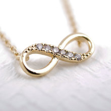 Shuangshuo Tiny Infinity Crystal Pendant Necklaces for Women